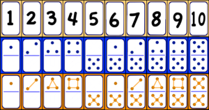 1 through 10 as numbers, dominoes, and shapes